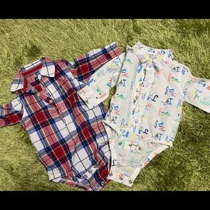 Multi colored button down onesies
